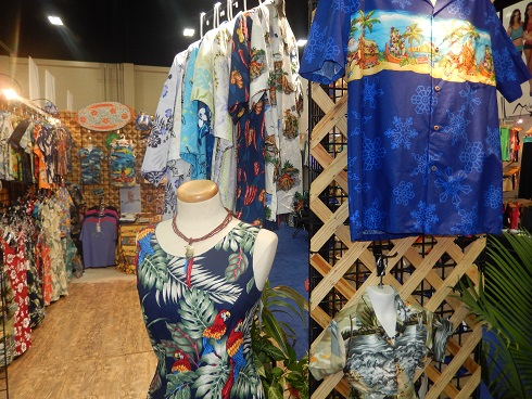 The Aloha Republic brought a large selection of their wholesale Hawaiian apparel line, including Hawaiian print dresses for women
