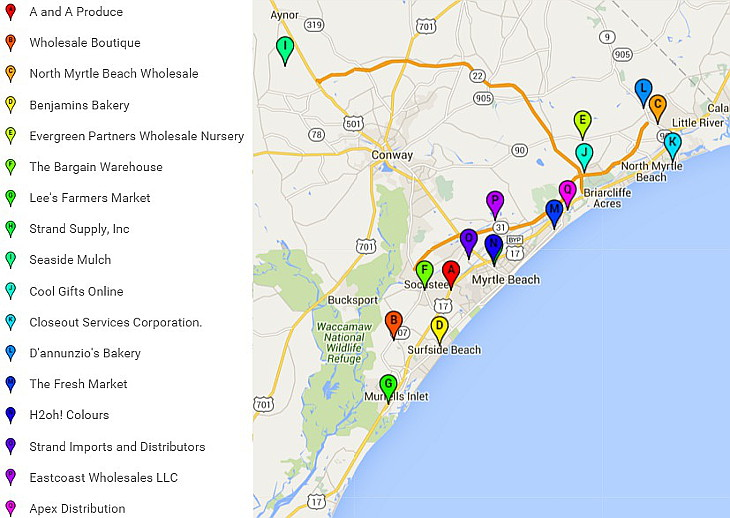 Map to Myrtle Beach Wholesalers